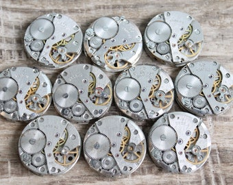 "Set of 10  watch movements 1"" (25 mm) - Featured - Steampunk jewelry supplies - Watch movements for art ... Vintage ... Steampunk Findings"