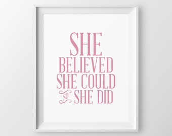 Baby Shower Gift She Believed She Could So She Did Baby Girl Gift Girl Nursery Quote Nursery Wall Decor Newborn Girl Baby Girl Nursery Decor