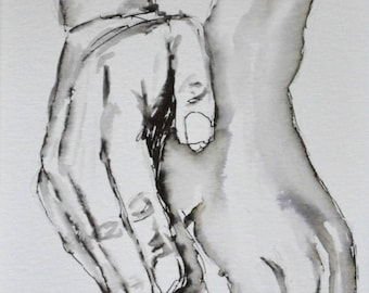 """""""Picture"""" hands """"in ink."""