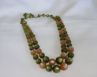 Olive Green and Cream Cat's Eye Multi Strand Necklace