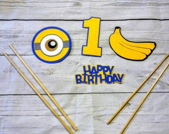 Minions party centerpiece,  4 piece set