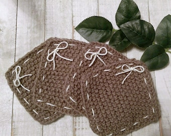 Set of 4 Rustic Brown and White Coasters with Bows