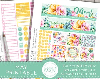 May Monthly Planner Kit, May Planner Stickers for Erin Condren, ECLP May Stickers, Monthly Printable Stickers, Floral Spring Planner, MV126