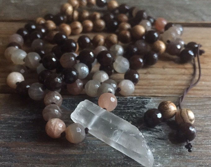 Natural Wood, Brown Jade, Sunstone + Quartz Crystal Mala | 108 Bead | Partially Handknotted |Spiritual Junkies | Yoga + Meditation