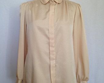 1980s cream self diamond print silky blouse by JUDY BOND size 18