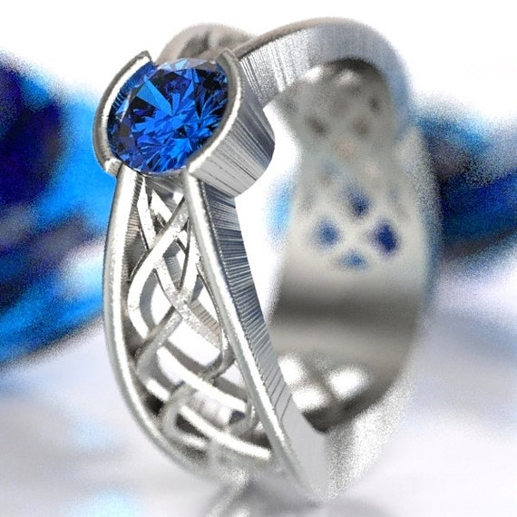 Celtic Sapphire Ring With Interweave Knot Pass Through Design in Sterling Silver, Made in Your Size CR-277b