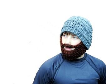 Beard Hat, Mens Beard Beanie, Crochet Beard, Boys Beard Beanie, Kids Crochet Hat, Baby Beard Knit Hat, Winter Hat, Removable Beard, Toddler