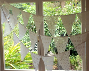 Beautiful white bunting garland made from recycled broderie anglaise