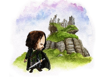 Aragorn from The Lord of the Rings Watercolor Print