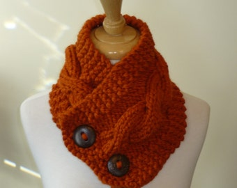 "Knit Neck Warmer, Cable Knit Scarf,  Chunky Warm Winter Scarf in Pumpkin 6"" x 25"" - Coconut Shell Buttons Ready to Ship - Gift for Her"