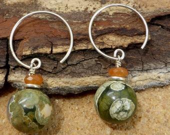 Rhyolite Earrings Carnelian Hill Tribe Silver Sterling Silver Hooks Artisan Gemstone Green Boho Australian Rainforest Jasper Jewellery