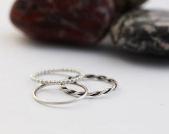 Solid Recycled Eco-Silver Stacking Rings (Made to measure)