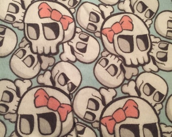 Skulls with Bows Flannel Fabric