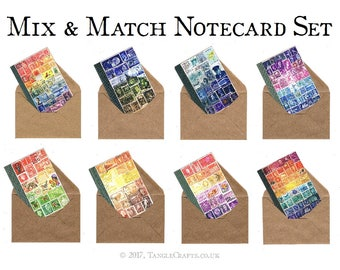 Postage Stamps Notecard Box Set | Stamp Art Print, Boxed Blank Cards | A6 Mail Art Stationery Set, any occasion cards for snail mail penpal