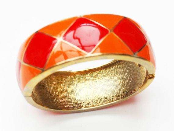 Orange Red Hinged bracelet - Enamel -Diamond Triangle -  gold   - mid century - Clamper  Bangle