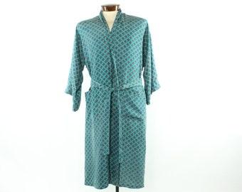 80s Christian Dior Silk Robe Mens Pajamas Turquoise Vintage 1980s Large L Smoking Jacket Loungewear