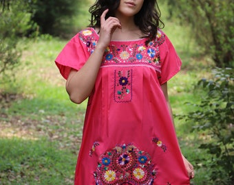 Large to XL Pink and multi  colored embroidery Puebla Dress
