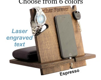 Father's Day, Mens Gift Idea, Unique Gift For Husband, Anniversary Gifts For Men, Wood Docking Station, Gifts For Men Who Have Everything