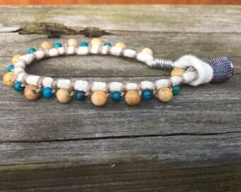 Stone Beads and Jersey Bracelet