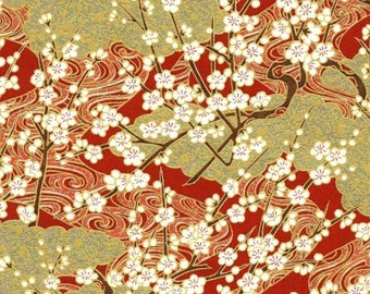Chiyogami or yuzen paper - gold and red springtime blossoms, 9x12 inches