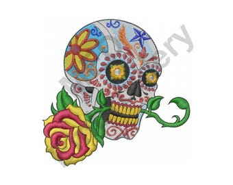 Flower Skull - Machine Embroidery Design