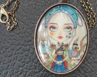 Victoria Necklace Fantasy Face Lowbrow Art Pendant Big Eye Pendant