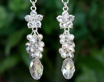 Bridal Cluster Earrings.White Pearl.Swarovski Crystal.Jeweled.Dangle.Silver.Statement.Chandelier.Wedding.Bridal.Long Earrings.Handmade.