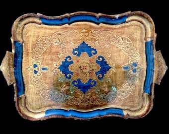 Very nice and large Florentine tray blue and gold hand painted. 50's.