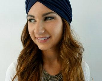 Navy Blue Turban Hat Womens Turban Cloche Full Head Turban Stretch Turban Hat Pleated Design Womens Hat - CHOOSE Your Color