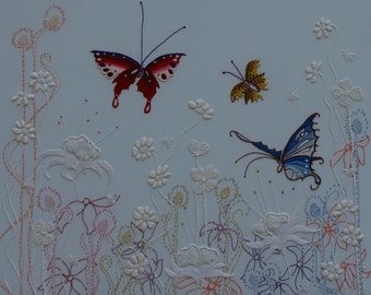 Hand Embroidered Flowers Of The Sky Hand Embroidery PDF Instructions & Pattern Butterflies