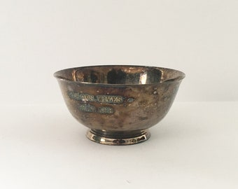 Paul Revere Bowl Reproduction Oneida Silversmith Silverplate Small Bowl Shaw AFB Inscription