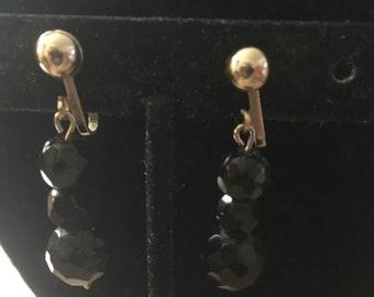 Vintage Black Crystal Drop Clip Earrings