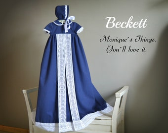 BECKETT (Peter Pan Neck).Nb to 18M.Baby BOY Gown.Design your OWN outfit.Pique&Bobbin lace.Naming day.Baptism.Christening.Dedication.Blessing