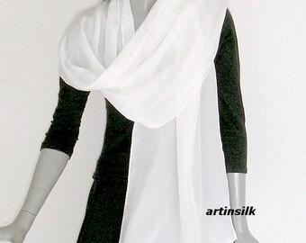 "White Silk  Hand Hemmed Wrap Coverup, Natural Soft White  Crepe Wedding Shawl, Artisan Handmade, Tall Bride 21x90"", Artinsilk."