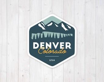 Denver Colorado Mountain Badge   Vinyl Sticker Design