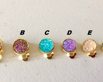 A pair of 10mm Gold Druzy Clip on Earrings Nickle Free, Gold Druzy Earring