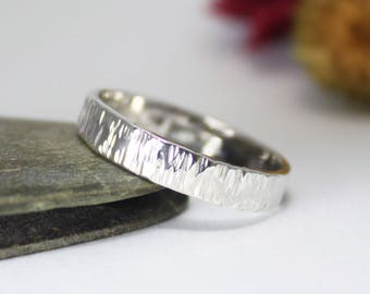 4mm Silver Tree Bark Ring, Hammered Ring, Rustic Ring, Band Ring, Minimalist Ring, Engagement Ring. For Her