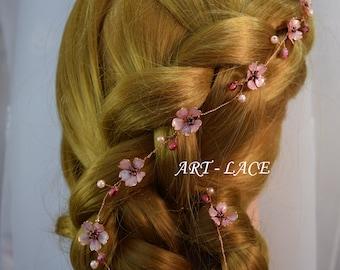 Bridal hair vine Rose gold Sakura Flower wedding headpiece Cherry blossom hair Japanese Flower hair wrap Bridesmaid pink hair band headcrown