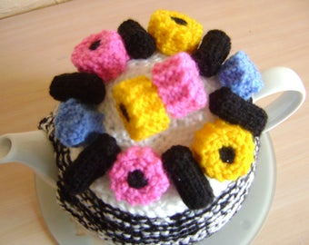 Hand knitted teapot cozy, tea cosy with liquorice sweets