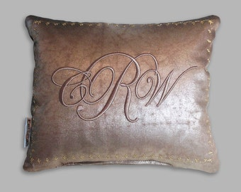 monogram embroidered pillow custom antique look bronze fabric with a sheen silk back