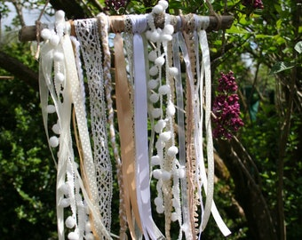Mobile drift wood, ribbons and laces, Garden decor, bedroom, Shabby chic