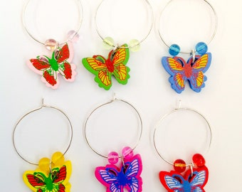 Butterfly  set of wine charms drinking gift present Mum Sister Aunt Nanny