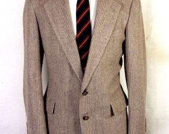 euc Hertling Brown 100% Wool Tweed Herringbone Blazer Sportcoat Canvassed 39 R