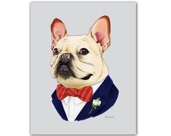 French Bulldog - Dog animal print - modern kid art - dog art - modern nursery - animals in clothes - animal artwork - Ryan Berkley 11x14