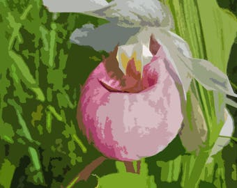 Pink and White Lady Slipper Abstract  --INSTANT DOWNLOAD--