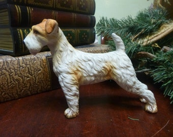 Porcelain Airedale or Lakeland Terrier Dog Figurine, Very Detailed    (T)