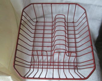 Vintage Plastic Coated Wire Dish Rack, Durable Red Dish Drain Rack