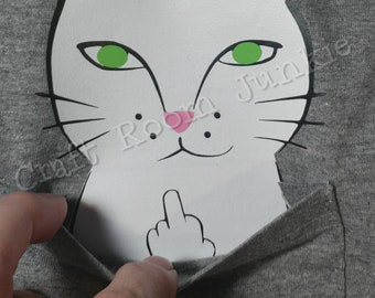 Rude Cat, Funny Cat, Cat pocket Tee, Cat Flipping off, Cat Middle Finger Tshirt