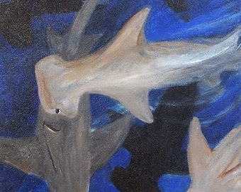 shark painting, Hammerhead Sharks, original acrylic painting on canvas, hammerhead shark painting