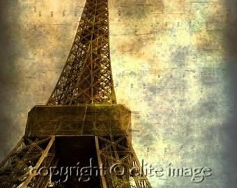 EIFFEL TOWER Landmark with Sheet Music Notes in Paris France on Grunge Vintage - 8x10